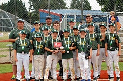 COURTESY PHOTO: PATRICIA GARNER - The Gaston Greyhounds took fourth place over the weekend in the 2016 Junior National Baseball Championship Tournament in Bob Smith Memorial Park in Lebanon.  Left to right in the back row: Coach Randy Hoodenpyl, Jaden Clark, head coach Brian Wilhelm, Dylan Tallent, Johnmichael Garner and Dustin Yoder.  Front row: Blake Moler, Brenden Dillon, Jaden Dolan, Tristan Still, Nathan Beck, Luke Brewer, Zaden Wilhelm, Brandon Clowdus and Aiden Breidenbach.  The team battled for three days fighting for a shot in the championship final trophy round and wound up in fourth place out of 74 teams in the league.  Canby took first place in the tournament. Monroe took second place and Canby took third - and nabbed the sportsmanship trophy.
