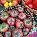 PHOTO COURTESY OF SARAH WEST - Purple-red heirloom tomatoes can be found in Sarah West's garden, along with green and orange varieties.
