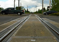 SPOKESMAN FILE PHOTO - Temporary repairs for the at-grade rail crossing were completed earlier this year; the new permanent fixes include both crossing and adjacent Wilsonville Road.