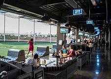 NEWS-TIMES PHOTO: CHASE ALLGOOD - TopGolf, the large driving range being built near U.S. Highway 26 in Hillsboro, opens Friday. It aims to bring a more bowling-alley type setup to the driving range, complete with TVs, couches and a focus on getting beginners into the sport.