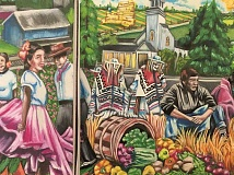 NEWS-TIMES PHOTO: RYAN LACKEY - The mural portrays the church story from 1910 to the present and includes notable figures such as 7-year-old Virginia Garcia, as well as former pastors and parishioners and bishops and field workers.