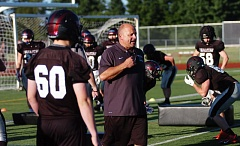 DAN BROOD - Bill Zernickow, shown here during a 2015 spring practice, resigned as the Tualatin High School varsity football coach last Thursday.
