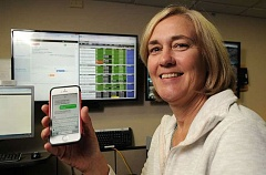 LAKE OSWEGO REVIEW PHOTO - Leslie Taylor, director of Lake Oswego's emergency communications center, demonstrate the new text-to-911 service. For users, communication with emergency dispatchers will be just like any other texting conversation.