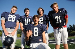 RFEVIEW PHOTO: VERN UYETAKE - Shawn Elliott (back row from left), Cameron Nicklos, Jake Dukart and Dawson Jaramillo, along with JP Miska (front), hope to make up an athletic and physical Lake Oswego team that will challenge some of the top teams in the Three Rivers League this year.