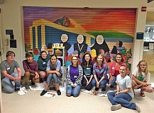 SUBMITTED PHOTO - Young artists from St. Stephens Academy take a break. From left: Sterling Mier, Daniel Dirksen, Anne Bedford, Katherine Dirksen, Katie Shay, Jeanette Barton, Meghan Bauman,  Alyssa Gilmore, Sophie Hamilton, Hannah Hamilton. (Not pictured is Gresham Bergeron.)