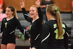 ESTACADA NEWS: DAVID BALL - Estacadas Rylie Canifax celebrates between points during the teams home sweep over Yamhill-Carlton last week.