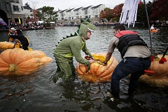 TIMES FILE PHOTO - Daniel Anderson, dressed as a dragon, gets into his pumpkin boat at Tualatin's Pumpkin Regatta last year.