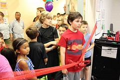 REVIEW PHOTO: JILLIAN DALEY - Oak Creek Elementary School students eagerly anticipate entering the new maker space.