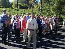 SUBMITTED PHOTO - Church organist William Barnett leads congregation members into a parking lot Sunday during Lake Oswego United Methodist Church's first-ever fire drill on Sunday.