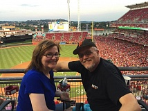 SUBMITTED PHOTO - Colleen Murray and her husband, Joe Krumm, at the Great American Ball Park, Cincinnati, Ohio, home of the Cincinnati Reds.