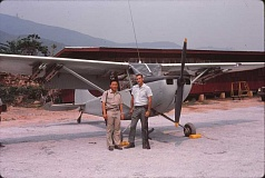 COURTESY OF ART CORNELIUS - Art Cornelius (right) stands with Vang Chou, a dear friend with whom he flew more than 100 missions and who was later grievously wounded when flying with another Raven during the Laos mission.