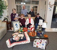BARBARA SHERMAN - Highlands crafters who will have items for sale at their holiday faire include (front row from left) Bonnie Fletcher, Beverly Melott and Jack Daws, plus (back row from left) Norma Crandall, Mark Nelson and Earline Daws.