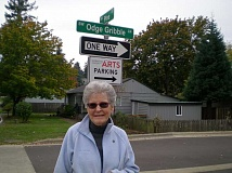 GAZETTE PHOTO: RAY PITZ - Odge Gribble said she was thrilled to have a street named after her, noting that she likes the fact its next to the Sherwood Center for the Arts, a building she had advocated for a long time.