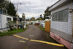 TRIBUNE PHOTO: JAIME VALDEZ - Many of the units at Oak Leaf Mobile Home Park are dilapidated. Some are just RVs; others are occupied by squatters.