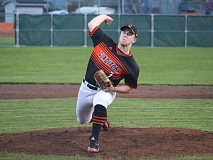 REVIEW/NEWS PHOTO: JIM BESEDA - Gladstone starter Logan Saltares pitched five innings in Friday's 4-3 home win over Molalla.