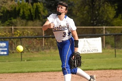 OUTLOOK PHOTO: MATT RAWLINGS - Barlow's Alexa Geary releases a pitch during her team's Friday win over David Douglas in Mt. Hood Conference action.