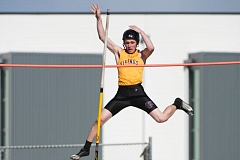 NEWS-TIMES PHOTO: CHRISTOPHER OERTELL - Forest Grove sophmore Andrew Stephen competes in the pole vault at a track meet against West Salem and Sprague at Forest Grove High School.