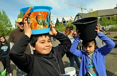 REVIEW PHOTO: VERN UYETAKE - Ceaser and Ariane Guzman get ready to carry their full buckets down to the river at the Walk4Water on Saturday in Lake Oswego.