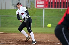 PMG PHOTO: JIM BESEDA - Oregon City's Morgan Hornback pitched six innings and allowed two runs (neither earned) on four hits with one walk and eight strikeouts in Friday's rain-shortened 4-2 win over Clackamas.