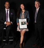 PAMPLIN MEDIA GROUP PHOTO: JAIME VALDEZ - Jenny Kwon, Lake Oswego's Amazing Kid, is flanked by former Portland Trail Blazer Brian Grant (left) and Pamplin Media Group President and Publisher Mark Garber at a special event Monday at OMSI.