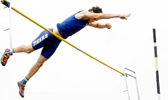 SETH GORDON - Davis Smith clears 14-6 to set a new personal record at Newberg's season-ending four-way Three Rivers League meet versus Sherwood, Canby and Lake Oswego. Smith also won the high jump and took third in the long jump.