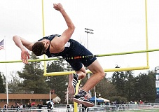 PHOTO COURTESY OF GFU - GFU sophomore Jacoby Wolfe broke through in the high jump to move up in both the national standings and the Bruin record book with a leap of 6-10.75 at the Linfield Open.