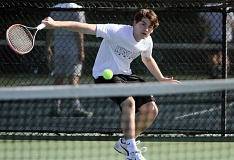PMG PHOTO: MILES VANCE - West Linn senior Matt Perkins (shown earlier this year) will face either Lakeridge's Emmett Moore or teammate Sam Watt in the Three Rivers League district singles championship on Saturday at Portland Tennis Center.