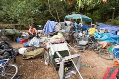 PAMPLIN MEDIA GROUP FILE PHOTO - Homeless camps like this one along the Springwater Trail, can be found across the region. Clackamas County found more than 2,000 homeless people in it's latest count.