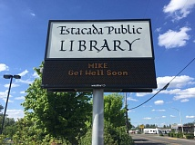 ESTACADA NEWS PHOTO: EMILY LINDSTRAND - The Estacada Public Library wished Michael Wagner a speedy recovery last week.