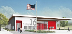 RENDERING COURTESY: CLACKAMAS FIRE - The design for the new Hilltop Station 16 in Oregon City from Hennebery Eddy Architects.