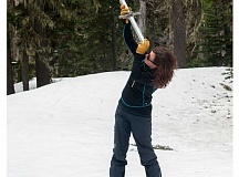 SPOKESMAN PHOTO: JOSH KULLA - Hydrologist Julie Koberle checks a tube she will drive into the snowpack to measure its depth and water content.