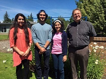 COURTESY PHOTO - On Sunday, several Muslim students visited Southminster Presbyterian Church in Beaverton to talk about the upcoming First Ramadan Tent Project Open Iftar in the United States, set this week at Southminster. They include, from left, Madina Karimyar (of Beaverton), Mohsen Assadi, Sadaf Assadi and Pastor John Shuck.