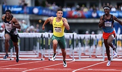 TRIBUNE PHOTO: DAVID BLAIR - Oregon Ducks hurdler Devon Allen's rousing victory was one of the highlights of the U.S. Olympic Trials at Hayward Field.