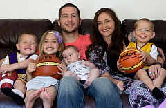 Scott O'Gallagher and his wife of nine years, Kristen,  pile onto the couch with their four children, Brooklyn, Scott Jr., Jalen and Jacoby. The family lives in the Bay Area.