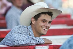 PAMPLIN MEDIA GROUP: JIM BESEDA - Chase Dougherty, an 18-year old Woodburn resident, competed in the St. Paul Rodeo and the Molalla Buckeroo as part of Cowboy Christmas, the first week of July, which featured a number of rodeo competitions throughout the region.