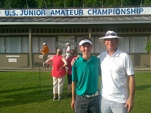 COURTESY: NATE STEMBER - Nate Stember (left) and his father, Paul, get ready for more golf at the 69th U.S. Junior Amateur Championship.