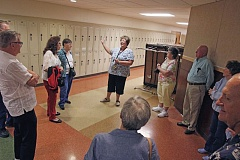 TIMES PHOTO: JONATHAN HOUSE - Tigard Highs Shana Beckman leads a reunion tour for former graduates of the campus.