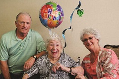 LARRY COONROD - Evelyn Johnston, center, celebrated her 102nd birthday last week with her daughter Mardi Knapp and son-in-law Tom Knapp.