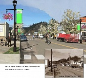 COURTESY PHOTO: SEDER ARCHITECTURE + DESIGN  - This architectural concept illustrates how benches, parking striping, underground powerlines, and lamp posts with flower pots and the new proposed logo could improve Banks Main Street.