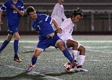 REVIEW/NEWS PHOTO: JIM BESEDA - La Salle Prep midfielder Nathan Felcher (7) was one of four Falcons' players named to the Northwest Oregon Conference boys' soccer first team.