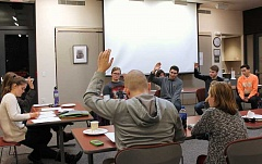 TIDINGS PHOTO: PATRICK MALEE - Youth Advisory Council members raise their hands to volunteer to work on several different initiatives, many related to public safety.