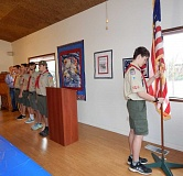 BARBARA SHERMAN - Boy Scouts from Tualatin Troop 530 post the colors at the beginning of the Eldorado Villas veterans' breakfast in the Clubhouse.