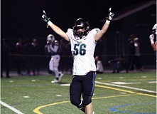 DAN BROOD - Tigard senior linebacker Justin Lyons puts his arms in the air following the Tigers' 27-0 win at Sheldon in Friday's state playoff quarterfinal game.