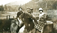 CONTRIBUTED PHOTO - Lutie (Welch) Bailey, her father Billy Welch, and Billy's second wife, Jennie Faubion, are shown at the Welch's ranch near where the first hole of today's golf course is located. That's the base of Hunchback Mountain directly behind them with West Zigzag Mountain rising up in the distant background.