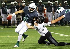DAN BROOD - Tigard senior linebacker Scott Ostrom (right) looks to drag down Sheldon quarterback Zach Diehl during Friday's state playoff quarterfinal game. The Tigers had seven sacks in the contest.