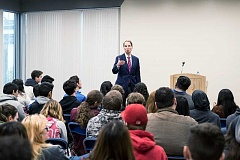 PAMPLIN MEDIA GROUP PHOTO: CHASE ALLGOOD - Senator Ron Wyden answers questions from Hillsboro High School students Friday Morning. Hillsboro