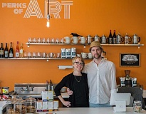 CHASE ALLGOOD - In Perks of Art, owners Amanda Stead andScott Vaughan have created a place for the thing they love best: art and coffee.