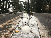 PAMPLIN MEDIA GROUP: GARY STEIN - A snowman greeted drivers traveling into Lake Oswego Friday morning. Roads in the area were mostly slushy, but there was just enough snow to build this guy.