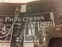 ARCHIVE PHOTO - In 1997, a sign with the current time and temperature was installed at the Pacific One Bank in downtown Estacada.