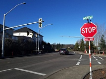 TIMES PHOTO: MARK MILLER - Traffic signal poles have been newly installed at the intersection of Walnut Street and 135th Avenue just south of Tigard city limits, which is currently an all-way stop.